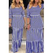 Lovely Casual O Neck Striped Blue Floor Length Dre