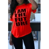 Lovely Casual O Neck Letter Printed Red T-shirt