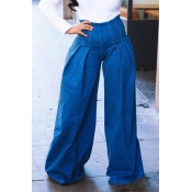 Lovely Chic Draped Deep Blue Loose Jeans