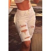 Lovely Trendy Broken Holes White Shorts