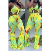Lovely Sexy Spaghetti Straps Printed Yellow One-piece Jumpsuit