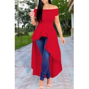 Lovely Stylish Off The Shoulder Asymmetrical Red B