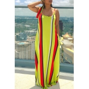 Lovely Casual Spaghetti Straps Striped Printed Yellow Floor Length Dress(With Headband)