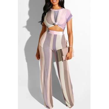 Lovely Stylish Striped Light Purple Two-piece Pants Set