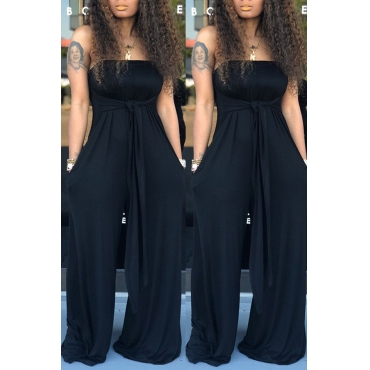 Lovely Casual Off The Shoulder Black One-piece Jumpsuit