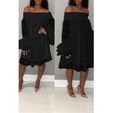 Lovely Stylish Off The Shoulder Horn Sleeve Black Knee Length Dress