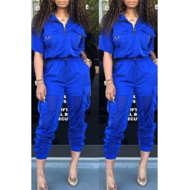 Lovely Stylish V Neck Zipper Design Blue Two-piece Pants Set