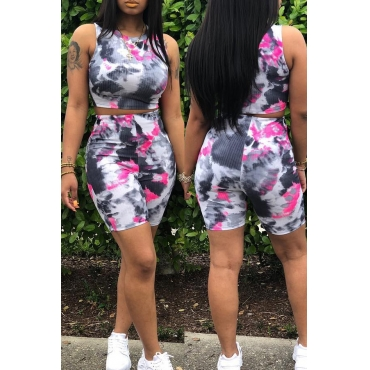 Lovely Casual Printed Rose Red Two-piece Shorts Set
