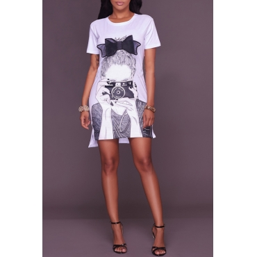 Lovely Leisure Short Sleeve Printed White Mini Dress