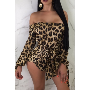 Lovely Sexy Off The Shoulder Leopard Printed One-piece Romper