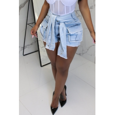 Lovely Casual Baby Blue Denim Shorts