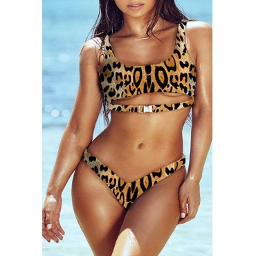 Lovely Leopard Printed Hollow-out White Two-piece Swimwear