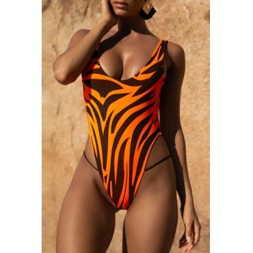 Lovely Zebra Pattern Printed Orange One-piece Swimwear