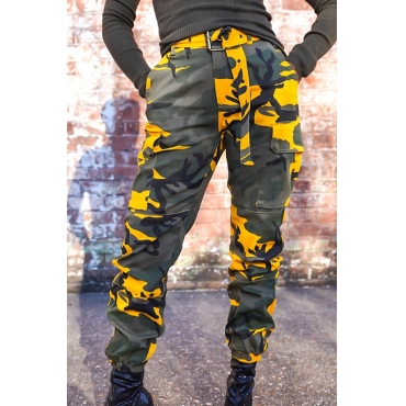 Lovely Stylish Camouflage Printed Yellow Pants