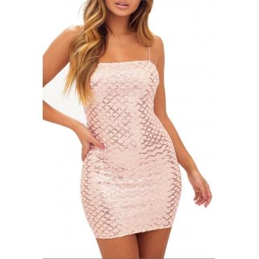 Lovely Stylish Spaghetti Strap Light Pink Mini A Line Dress