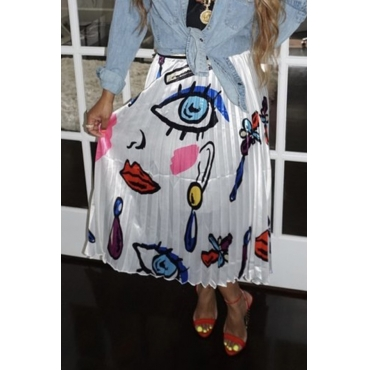Lovely Trendy Printed Ruffle White Skirts