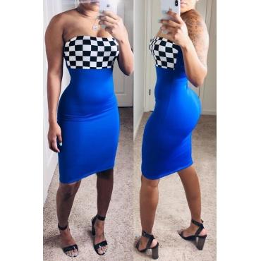 Lovely Trendy Off The Shoulder Plaid Patchwork Blue Knee Length Dress