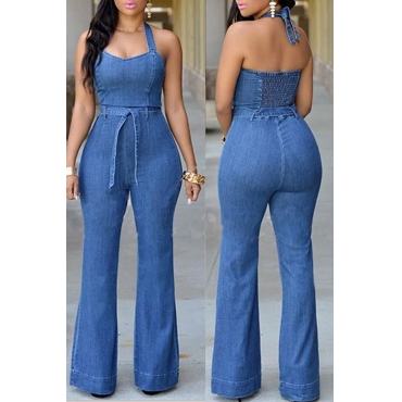 Lovely Sexy Halter Neck Blue One-piece Jumpsuit