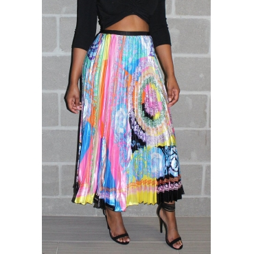 Lovely Casual Ruffle Printed  Ankle Length Skirt