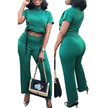 Lovely Casual O Neck Green Two-piece Pants Set