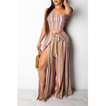 Lovely Casual Off The Shoulder Striped Pink Two-piece Pants Set