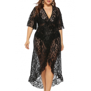 Lovely Sexy See-through Asymmetrical Black Knee Dress(Without Lining)