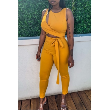 Lovely Casual O Neck Lace-up Yellow One-piece Jumpsuit