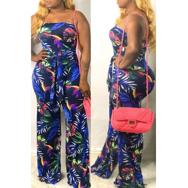 Lovely Stylish Off The Shoulder Printed Dark Blue One-piece Jumpsuit