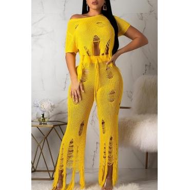 Lovely Stylish O Neck Broken Holes Yellow Two-piece Pants Set