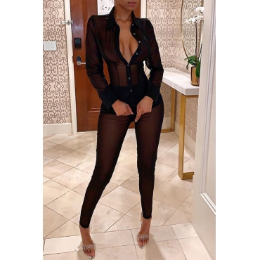 Lovely Sexy V Neck See-through Black Two-piece Pants Set