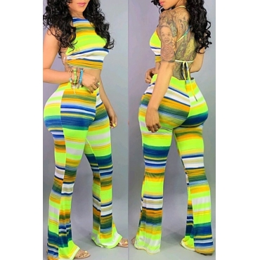 Lovely Sexy Striped Backless Green Two-piece Pants Set