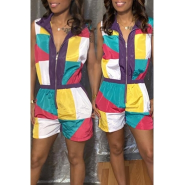 Lovely Casual Patchwork One-piece Romper