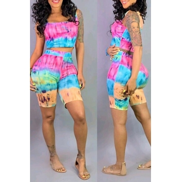 Lovely Chic Square Collar Printed Two-piece Shorts Set