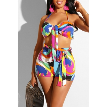 Lovely Casual Printed Multicolor Two-piece Swimwear