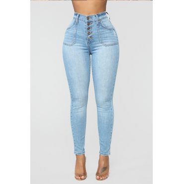 Lovely Trendy Buttons Design Baby Blue Jeans
