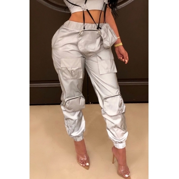Lovely Chic Pockets Design Grey Pants