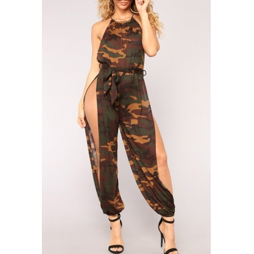 Lovely Sexy Camouflage Printed One-piece Jumpsuit