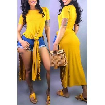 Lovely Leisure O Neck Side Split Yellow T-shirt