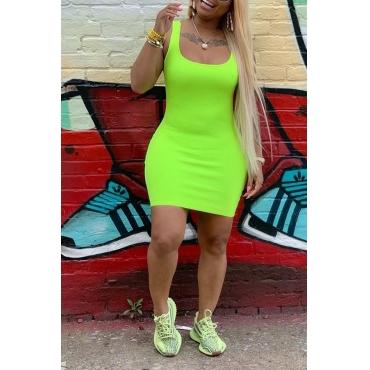 Lovely Casual U Neck Green Mini Dress