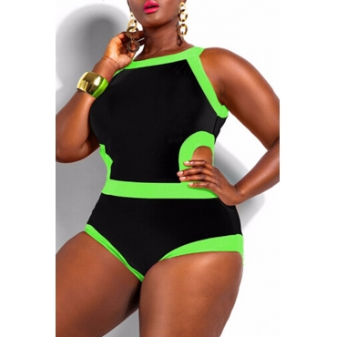 Lovely Patchwork Hollow-out Black One-piece Swimwear