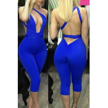 Lovely Sexy Backless Blue One-piece Romper