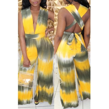 Lovely Sexy Deep V Neck Tie-dye Yellow One-piece Jumpsuit