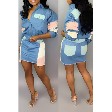 Lovely Casual Patchwork Blue Denim Two-piece Skirt Set