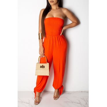 Lovely Sexy Off The Shoulder Orange One-piece Jumpsuit