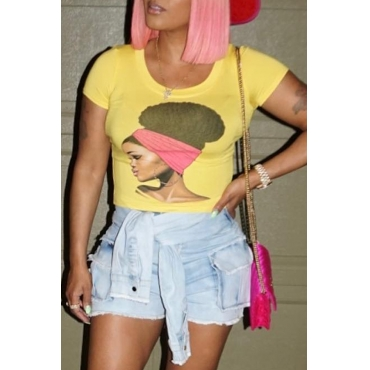 Lovely Casual Printed Yellow Cotton T-shirt