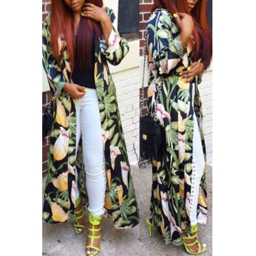 Lovely Bohemian Printed Green Trench Coat