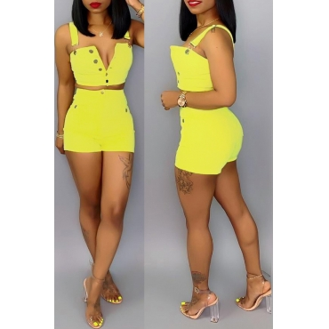 Lovely Work Sleeveless Buttons Design Yellow Two-piece Shorts Set