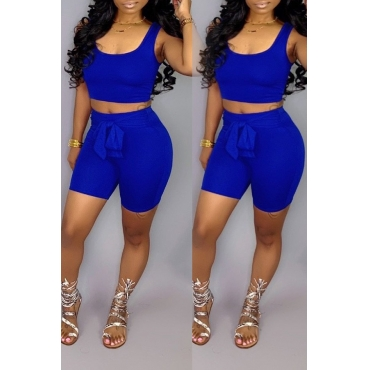 Lovely Casual Sleeveless Lace-up Blue Two-piece Shorts Set