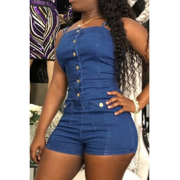 Lovely Casual Spaghetti Straps Buttons Design Blue Denim One-piece Romper