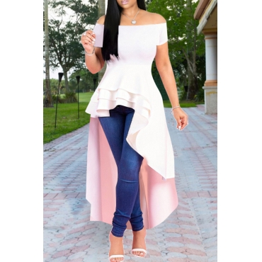Lovely Stylish Off The Shoulder Asymmetrical White Blouse